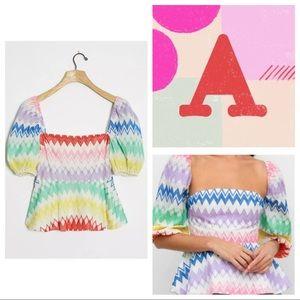 Anthropologie Rainbow Zigzag Puff Sleeve Top